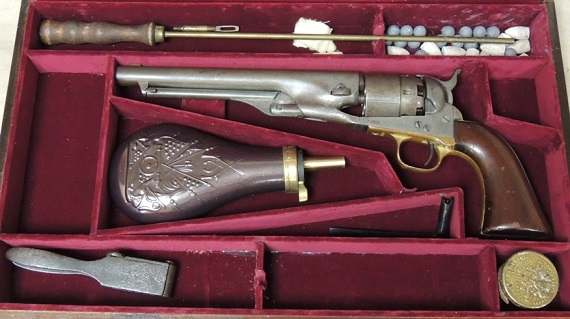 Cased Colt 1860 Army Civilian Model .44 Percussion Revolver S/N